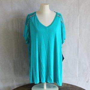 Ava Viv 3X Tunic Top Teal Blue Embroidered V-Neck